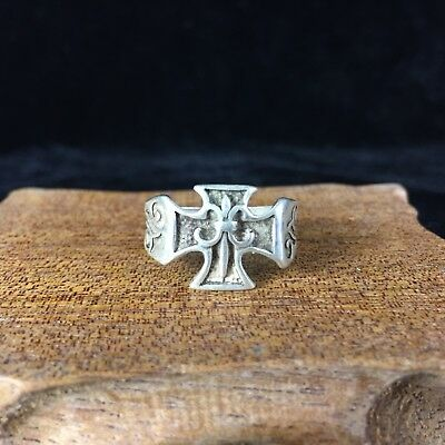 Antique Collectible Chinese Old Handwork Tibet Silver Handwork Cross Rare Ring