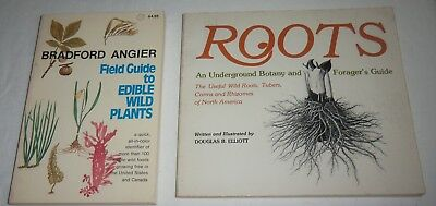 2 Bks FIELD GUIDE TO EDIBLE WILD PLANTS Bradford Angier, ROOTS D. Elliott SIGNED