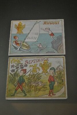 2 Victorian Dilworth Coffee Fairy Calendar Images, Hunting, Sail Boating