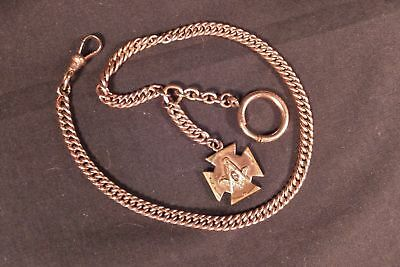 Handsome Masonic Antique  Gold Filled Pocket Watch Fob Chain