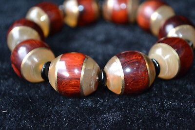 Chinese Old Rare Collectible rosewood & 0X h0rn ancient holy spirit Bracelet