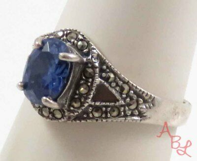 Sterling Silver Vintage 925 Cocktail Topaz & Marcasite Ring Sz 8 (3.3g) - 738547