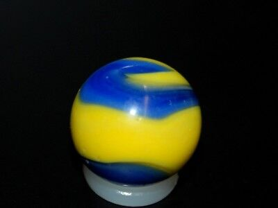 Vintage Marbles:Nice Akro Agate Yellow & Blue Corkscrew Marble  8-28-16