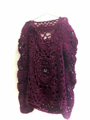 Crochet Cobweb - Chunky - Handmade Jumper - Alternative - Gift - Goth - One Size