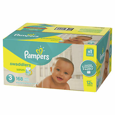 Pampers Swaddlers Diapers, Size 3, 168 Count