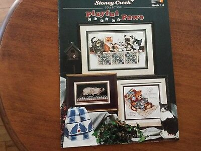 cross stitch chart Stoney Creek PLAYFUL PAWS Cats and Bears piano
