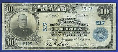 """$10 1902 """"RARE"""" The Nat'l MOUNTWOLLASTON Bank of Quincy, MA National Bank Note!"""