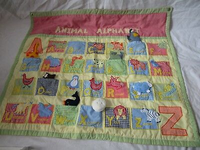 Pottery Barn Kids Animal Alphabet Interactive Tapestry Wall Hanging Quilt Decor
