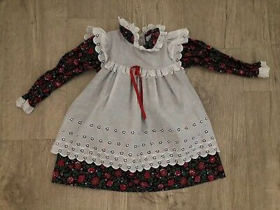Vintage Baby Girl Toddler Christmas Dress Alexis Apron Holiday 4T Pinafore