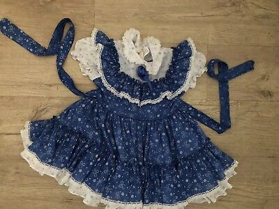 Vintage Girls Blue Novelty Print Stars Ruffled Full Circle Pageant Toddler Dress