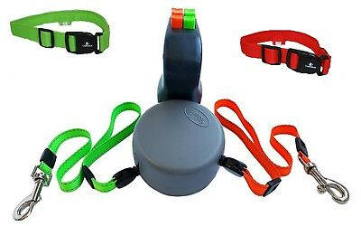 Dual retractable Leash for two dogs with matching led collar (3 pieces)