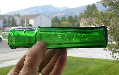 nice GREEN glass old J. P. SMITH & CO capers food bottle PITTSBURGH PA 1890's
