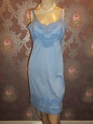 Vintage Full Slip 1960s Silky Nylon BLUE Satiny Lacey DEENA Pinup Lingerie 36