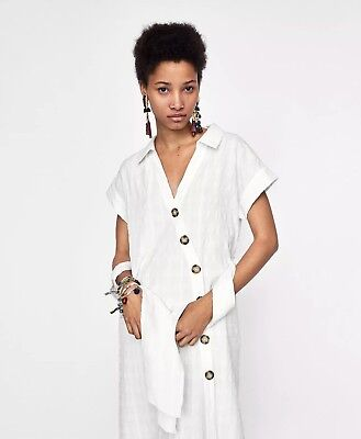 038dcfe3 Zara Textured Weave Shirt Summer Dress Off White/Beige Midi Size XS Sold  Out Nwt