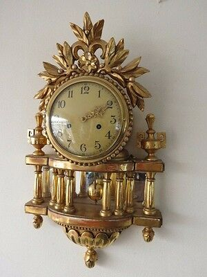 Beautiful Vintage Gilt Wood 8 Day Striking Cartel Clock