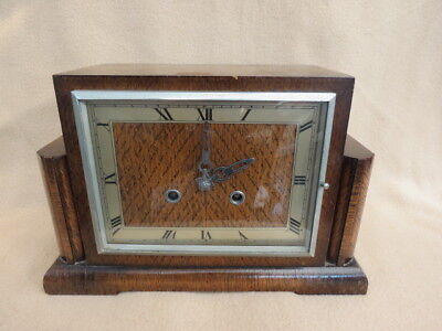 Vintage Art Deco Perivale 8 Day Striking Mantel Clock For Tlc