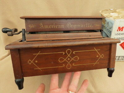 Antique American Organette Roller Organ And 19 Note Rolls