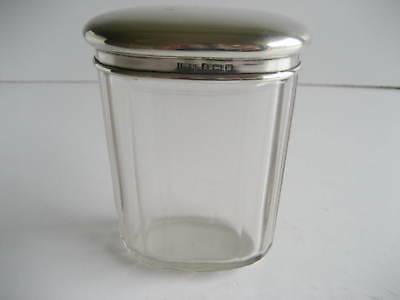 Glass Silver Topped Oval Cosmetic Pot or Jar Birmingham 1921