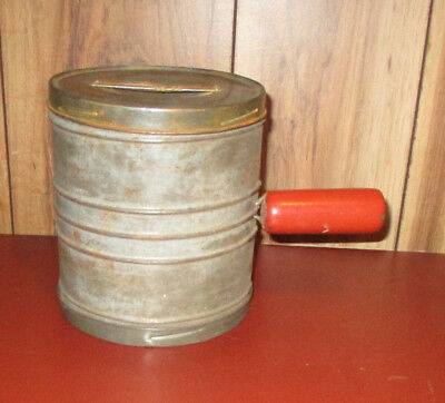 Unique Vintage Tin Flour Sifter from UNEEK UTILITIES CORP Red Wood Handle