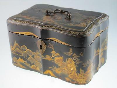 Large Antique Chinese 18th Century Black Lacquer Tea Caddy Circa 1780