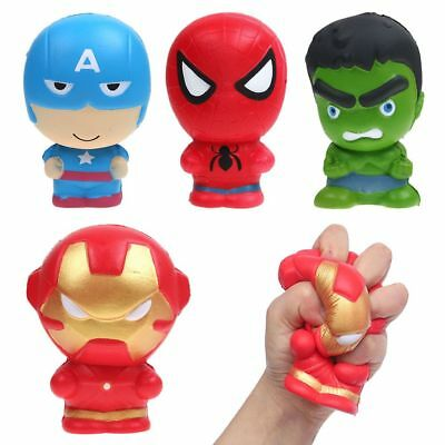 Super Hero Iron Man Spiderman Squishies Slow Rising Squeeze Stress Relieve Toy