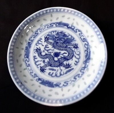 Chinese Hand Painted,  Blue & White 5 Claw Dragon Dish Or Plate - 19th. Century