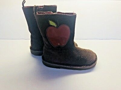 Excellent Baby Gap Leather Boots Size Usa 6 Eur 22 Toddler Fall Apples Halloween