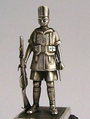 MILITARY SOLID SILVER INDIAN ARMY SOLIDER STATUE MADRAS SAPPERS & MINERS c1920