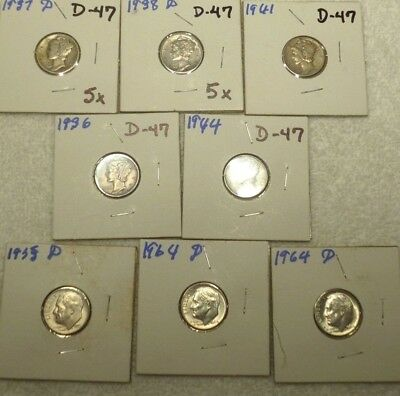 Lot of 8 Mercury and Roosevelt Dimes Mercury – 1936, 1937D, 1938D, 1941, & 1944