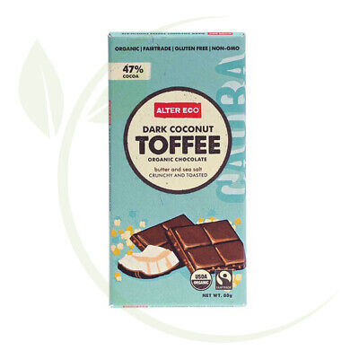Alter Eco Organic Chocolate Dark Coconut Toffee 80g