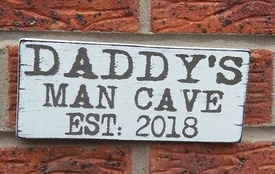 Daddy's Man Cave Established Personalised Wooden Sign Plaque Father Dad Gift