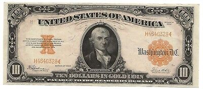 1922 US $10 gold certificate - very lightly circulated