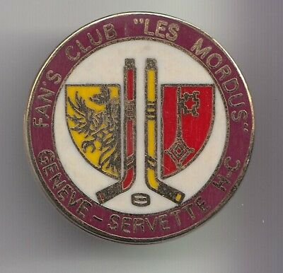 Rare Pins Pin's .. Sport Ice Hockey Sur Glace Fan Club Les Mordus Geneve ~Ds