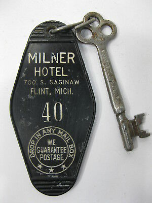 Milner Hotel 700 S. Saginaw Flint Michigan Room Key and Fob Room 40 Vintage
