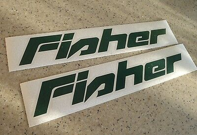 "Fisher Fishing Boat Decal Die-Cut GREEN 12"" 2-PAK FREE SHIP + FREE Fish Decal!"