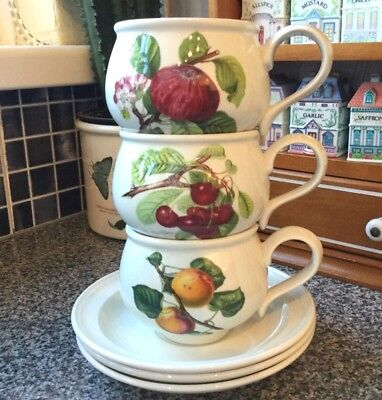 PORTMEIRION POMONA SET of THREE BREAKFAST CUPS AND SAUCERS