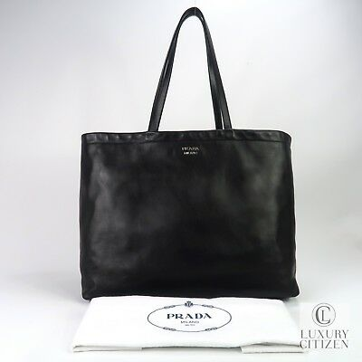 1105fd039634 Authentic Prada East West Reversible Solf Calfskin Leather Tote Bag Black  Red