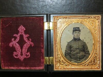 """Ruby Ambrotype Civil War Soldier Officer Union Case """"I"""" insignia Artillery"""