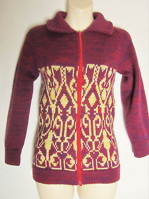 BURGUNDY Purple Red Cream Chunky Zip up Knit Cardi Cardigan Age 10 11 Years (M4)