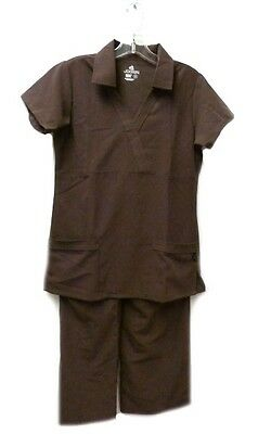 Jockey Scrub Set Collar Top Elastic Waist S Uniform Scrub Pants Bottom Brown New