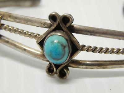 Vintage Navajo Indian Sterling Silver  Turquoise Bracelet - Nice Old Pawn