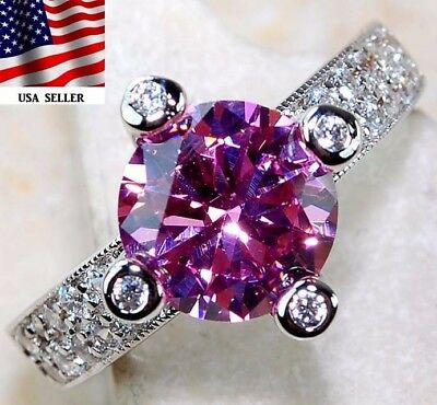 2CT Pink Sapphire & White Topaz 925 Solid Sterling Silver Ring Jewelry Sz 6