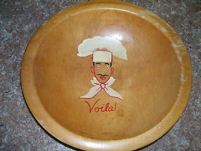 Munising Small Wooden Bowl (9 inches across top) with Voila & Bakers Face