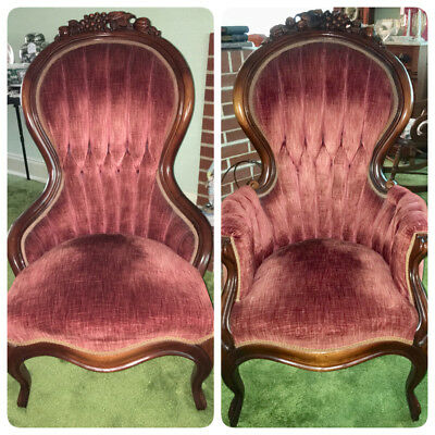 Antique Victorian Lady and Gentleman Parlor Chairs Pair Fruit Carved Burgundy