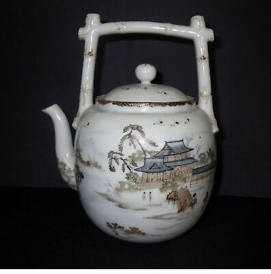 Signed Antique Japanese SATSUMA PORCELAIN TEAPOT Japan EXTRAORDINARY PAINTED