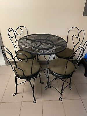 Antique/vintage Wrought Iron Cafe (Soda Shop) table, 4 Chairs, glass topper