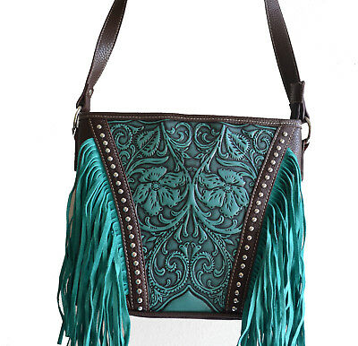 tooled floral teal turquoise blue brown fringe western leather cross body purse