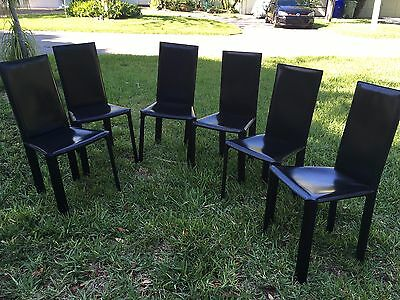 6 ~ deCOURO OF BRAZIL ~ Italian ~ Leather Dining Chairs ~ Mid Century Modern