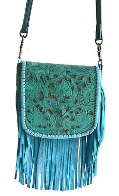 tooled floral teal turquoise blue fringe western leather cross body purse small