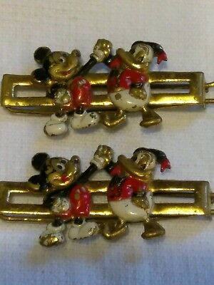 Disney Antique Old 1930 Set Of 2 Mickey Mouse & Donald Duck Hair Barrettes Clips